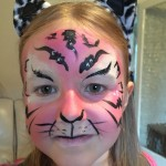 Just Crafty kids Club facepainting pink tiger face painting
